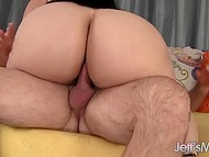 Handy old man did his best to make dark-haired BBW extremely happy after sex 6