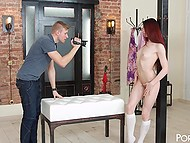 Erotic photo session transformed into fucking act of red-haired model and photographer 5