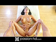 Muscled masseur's hands and penis made the session unforgettable for beauty Amia Miley 11