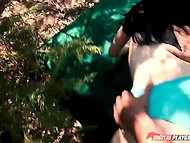 Cameraman didn't even have to sell on black-haired slut because she was not averse to sex in the forest 3