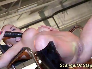Mind-blowing performance of shameless hottie who masturbates and squirts on the stage