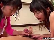 Миловидные японочки поочерёдно отсасываю член и вылизывают сосочки приятеля 7
