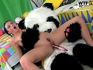 Girl has birthday party and a wild panda came to celebrate her with his huge phallus