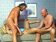 Arousing honey with long hair was deepthroated and nailed in the German scene 8