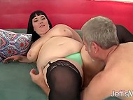 Handy old man penetrated brunette BBW with pierced nipples and released sperm in her mouth 3