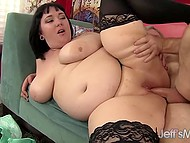 Handy old man penetrated brunette BBW with pierced nipples and released sperm in her mouth