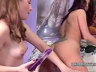 Young lesbian girlfriends made themselves comfortable and slowly enjoyed vibrator 9