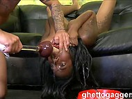 After enjoying the deep throat, man began to fuck smooth cunny of black Olivia Rain 6