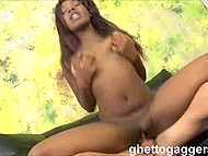 After enjoying the deep throat, man began to fuck smooth cunny of black Olivia Rain 8