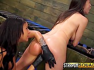 Beauty wanted to feel the thrill that's why experienced lesbian put strapon on and began to tame her 7