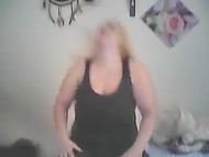 Mischievous mature woman from Finland flashes big breasts and vagina on webcam 3