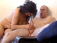 Dark-haired Serbian MILF bared shaggy muff after stripping down and took up giving a head to bald man 7