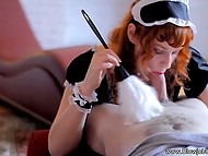Red-haired housemaid wiped dust off and emptied man's balls by giving excellent blowjob 4