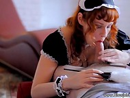 Red-haired housemaid wiped dust off and emptied man's balls by giving excellent blowjob 5