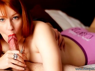 Red-haired MILF took up licking off erupted semen after giving excellent blowjob