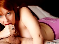 Red-haired MILF took up licking off erupted semen after giving excellent blowjob 5