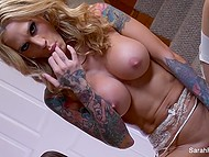 Tattooed goddess Sarah Jessie has no sex toy and satisfies herself using fingers 5