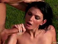 Brunette wife loves things associated with Brazil and outdoor fucking act with handsome husband 11