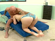Bald fucker came on slender legs after footjob and sex with seductive blonde 4