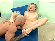Bald fucker came on slender legs after footjob and sex with seductive blonde 6
