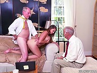 Old man fucks young Ivy Rose's mouth and shaved pussy and his incapable comrade watches them 4