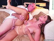 Old man fucks young Ivy Rose's mouth and shaved pussy and his incapable comrade watches them 6
