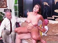 Old man fucks young Ivy Rose's mouth and shaved pussy and his incapable comrade watches them 8