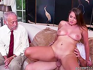 Old man fucks young Ivy Rose's mouth and shaved pussy and his incapable comrade watches them 9