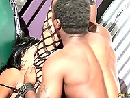 Luxurious babe in fishnet bodystocking and with meaty butt was pleased by black dick in the garage 8
