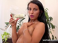 Perverted brunette masturbates after drinking and pouring own urine over herself 4