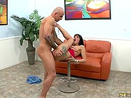 Pumped macho with easy calmed brunette with collar and released cumshot on slender legs 4