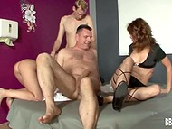 Lustful men were penetrating attractively good-time girls in the German group sex scene 7