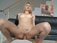 Tattooed chick with deep throat and slender legs takes pleasure in having sex with handy Latin 5
