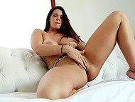 Vibrator and tender fingers help big-boobied Alison Tyler to work out pussy and reach ecstasy 4