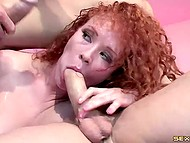 Brunette gave blowjob and watched how dudes double penetrated redhead's asshole 7