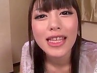 Smiling Japanese slut is experienced enough in gokkun and easily blows six Asian dicks 9