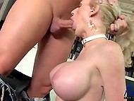 After mutual blowjob, hairless buddy pushed fuckstick in buxom shemale's asshole 4