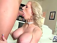 After mutual blowjob, hairless buddy pushed fuckstick in buxom shemale's asshole 5