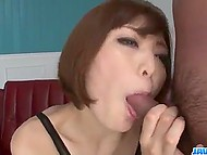 Coquette gives a head to two lads and swallows sperm and their friend makes her squirt 11