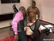 In spite of being mature, secretary was glad to be shared by two black business partners in conference hall 5