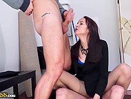 Playful beauty received not only great sex experience from threesome but also earned good money in the storeroom 5