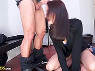 Playful beauty received not only great sex experience from threesome but also earned good money in the storeroom 6