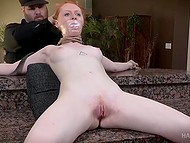 Lustful man immobilized red-haired girl and made her pink vagina feel extremely good 5