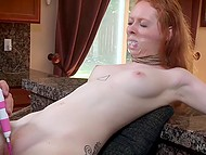Lustful man immobilized red-haired girl and made her pink vagina feel extremely good 7