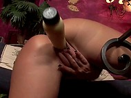 Big-tittied lady couldn't satisfy vagina with fingers that's why grabbed massive dildo 11