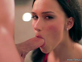 Dark-haired beauty considers blowjob is not only a way to pleasure man but also an art