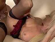 Experienced blonde together with lascivious stepdaughter serve overexcited macho 4
