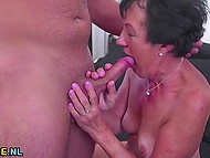 Old woman was incredibly happy to remember youth with handy fucker and feel fresh semen on the body 5