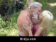 Old man had to put ax aside because two light-haired lassies were going to make him feel happy with threesome 4