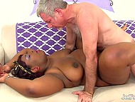 Old dude with unusual tastes brought a lot of pleasure to black BBW with pierced nipples 9